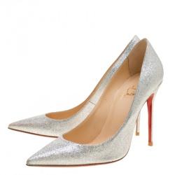 Christian Louboutin Metallic Silver Glitter Decollete Mini Pointed Toe Pumps Size 39