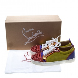 Christian Louboutin Multicolor Suede and Patent Leather Louis Junior Spikes Sneakers Size 36