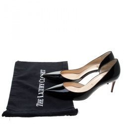 Christian Louboutin Black Patent Leather Iriza D'orsay Pointed Toe Pumps Size 38.5