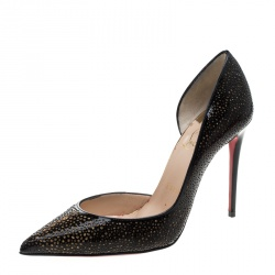 Christian Louboutin Two Tone Laser Cut Patent Leather Galupump Pointed Toe D'Orsay Pumps Size 36.5
