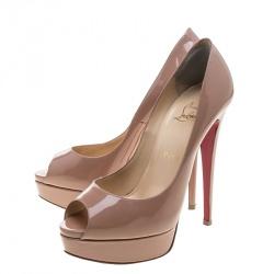 Christian Louboutin Nude Patent Leather Lady Peep Toe Platform Pumps Size 39