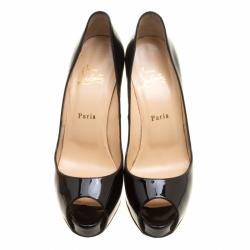Christian Louboutin Black Patent Leather Hyper Prive Peep Toe Platform Pumps Size 39.5