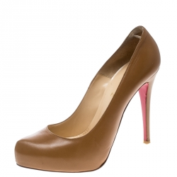 c2d35c249 Christian Louboutin Brown Leather Rolando Platform Pumps Size 42