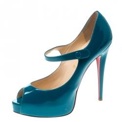44545ebc9ba Christian Louboutin Turquoise Bana Mary Jane Platform Pumps Size 39.5