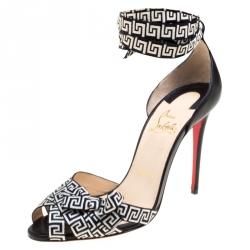 c10143556e87 Christian Louboutin Black Monochrome Leather and Fabric Christeriva Ankle  Wrap Sandals 37.5
