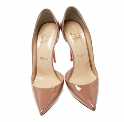 Christian Louboutin Beige Patent Leather Iriza Pointed Toe D'orsay Pumps Size 38