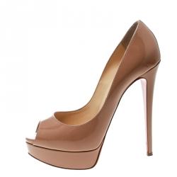 65da7ab6f424 Christian Louboutin Beige Patent Leather Lady Peep Toe Platform Pumps Size  38.5