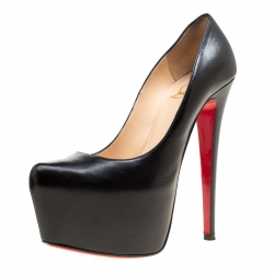 ce0ed72ad5b6 Christian Louboutin Black Leather Daffodile Platform Pumps Size 36.5