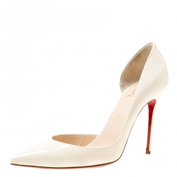 559ddd66b Christian Louboutin Cream Patent Leather Iris half D orsay Pointed Toe Pumps  Size 40