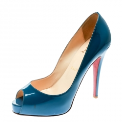 0cb52ce2ec8 Christian Louboutin Blue Patent Leather Very Prive Peep Toe Pumps Size 38