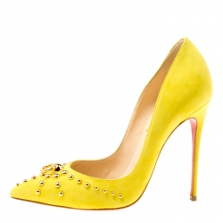 5cf73787adf2 Christian Louboutin Neon Yellow Suede Door Knock Studded Pointed Toe Pumps  Size 35