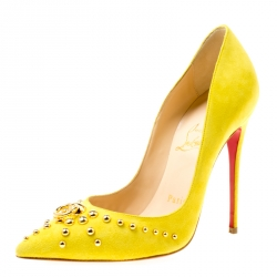 135b30e1d989 Christian Louboutin Neon Yellow Suede Door Knock Studded Pointed Toe Pumps  Size 35