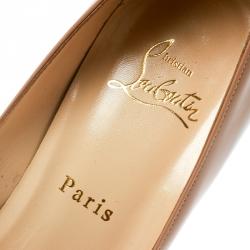 Christian Louboutin Beige Patent Leather Hyper Prive Peep Toe Platform Pumps Size 40