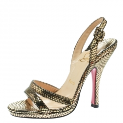 a29930e58d11 Christian Louboutin Black Gold Metallic Embossed Snakeskin Leather  Slingback Sandals Size 36