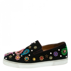 814f31ef648e Christian Louboutin Black Embellished Suede Boat Candy Skate Slip On  Sneakers Size 39