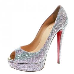 1d72810edcf Christian Louboutin Metallic Crystal Embellished Lady Peep Toe Aurora  Boreale Platform Pumps Size 40