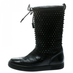 e84ab99cdca0 Christian Louboutin Black Leather Surlapony Spiked Mid Calf Boots Size 38