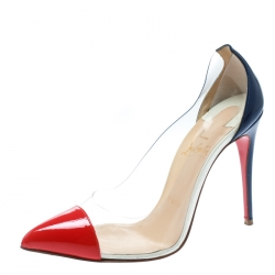 Christian Louboutin Red and Blue PVC Debout Pointed Toe Pumps Size 36