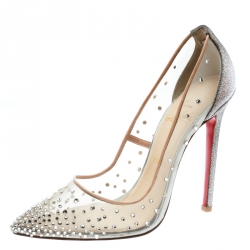 Christian Louboutin Beige Crystal Embellished Mesh Follies Strass Glitter Heel Pointed Toe Pumps Size 38.5