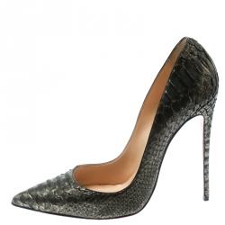 Christian Louboutin Metallic Green Python So Kate Pointed Toe Pumps Size 41