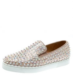 9ce96a7c2c1 Christian Louboutin Beige Glitter Suede Roller Boat Spiked Slip On Sneakers  Size 37