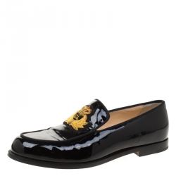 434a625d654 Christian Louboutin Black Patent Leather Laperouse Loafers Size 35.5
