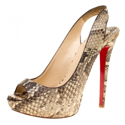 6c6049854aa6 Christian Louboutin. Sandals.  587.69  1035. Jimmy Choo Two Tone Elaphe  Leather Nova Peep Toe Platform Slingback Sandals Size 40.5