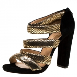 26cbf1436ee2 Christian Louboutin Black Suede And Gold Python Embossed Mehari Strappy  Sandals Size 38.5
