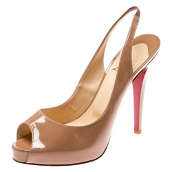 92e44b441616 Christian Louboutin Beige Patent Leather Private Number Peep Toe Slingback  Sandals Size 38.5