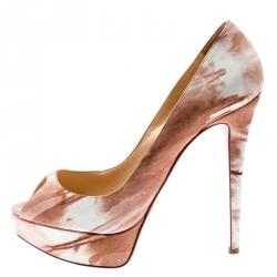 26eee6a5c حذاء كعب عالي كريستيان لوبوتان مقدمة مفتوحة ليدي جلد أبيض/ بيج مقاس 36.5
