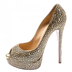 895ef5dbaf Christian Louboutin Metallic Suede And Crystal Embellished Burma Daffodile  Peep Toe Platform Pumps Size 40