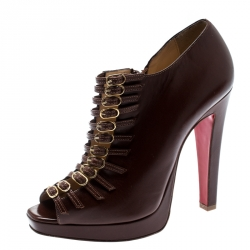 3e45c13e3 Christian Louboutin Brown Leather Manon Buckle Detail Open Toe Ankle Boots  Size 37.5