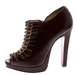 1013563e24c9 Christian Louboutin Brown Leather Manon Buckle Detail Open Toe Ankle Boots  Size 37.5