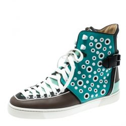 641b21a7180c9 Christian Louboutin Multicolor Leather Alfibully High Top Sneakers Size 40.5
