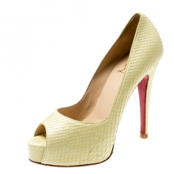 factory price 03337 34945 Christian Louboutin Metallic Yellow Snake Skin Altadama Peep...