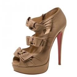taille 40 3a051 39f8f Christian Louboutin Beige Leather Butterfly Knotted Cut Out ...