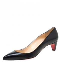 Christian Louboutin Black Leather Pointed Toe Pumps Size 38.5