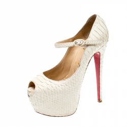 best sneakers 300a2 45d2b Christian Louboutin White Matte Python Lady Highness Peep To...