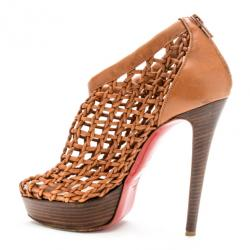 Christian Louboutin Beige Woven 'Coussin 140mm' Platform Ankle Booties Size 37