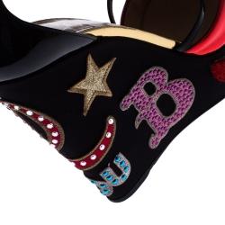 Christian Louboutin Multicolor Patent Leather Loubi Zeppa Wedge Platform Sandals Size 40