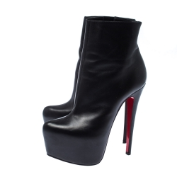Christian Louboutin Black Leather Daffodile Platform Ankle Boots Size 36.5