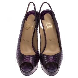 Christian Louboutin Purple/Pink Python Lady Peep Toe Platform Slingback Sandals Size 39