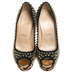 Christian Louboutin Blue Suede and Leopard Pony Hair Spiked Lady Peep Toe Platform Pumps Size 37