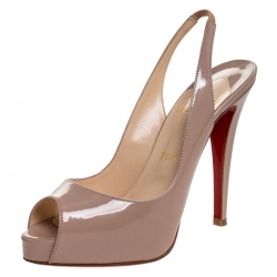 Christian Louboutin Beige Patent Leather Private Number Slingback Platform Peep Toe Sandals Size 37.5