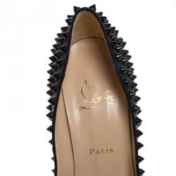 Christian Louboutin Black Leather Lady Peep Spikes Platform Pumps Size 40