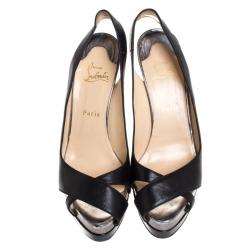 Christian Louboutin Black Leather Very Croise Slingback Platform Sandals Size 40