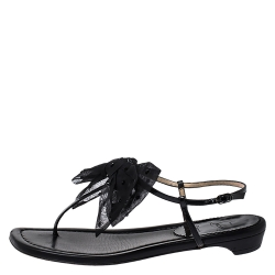 Christian Louboutin Black Patent Leather And Crystal Embellished Organza Bow Vaudoo Flat Sandals Size 39