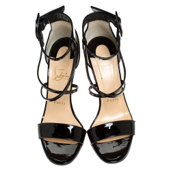 Christian Louboutin Black Patent Leather Choca Strappy Sandals Size 37.5