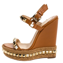 Christian Louboutin Brown Studded Leather Cataclou Espadrille Wedge Sandals Size 35