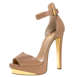 Christian Louboutin Beige Leather Tuctopen Ankle Strap Platform D'orsay Sandals Size 39
